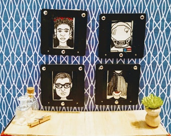 Miniature Original Badass Inspiring Women Drawings framed in Upcycled Film Slides - One Of A Kind