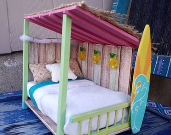 Miniature Surf Shack Dollhouse Bed with Bedding and Light