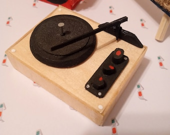 Miniature Handcrafted Record Player and Record Crate for Dollhouse