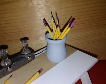 Miniature Pencils for Doll House- set of 12 with holder