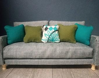 Hand sewn 1:12 dollhouse accent pillows