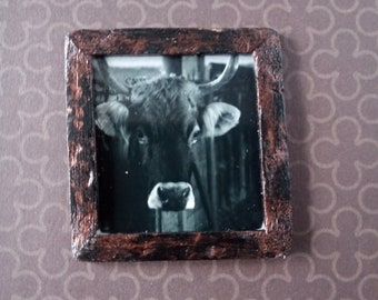 Miniature Black and White Cow Framed Photography Print for Dollhouse