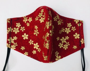 Japanese Sakura Mask (Adjustable Earloops & Nose Wire)