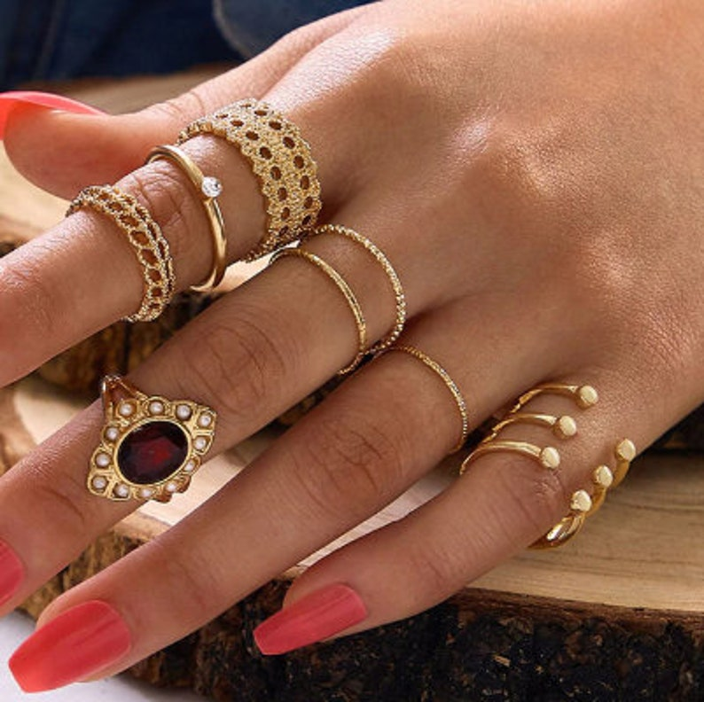 Bohemian Opal Crystal Rings Set WaterDrop Star Geometric Charm Midi Finger Bands Fashion Gold Color Hollow Circlets For Women