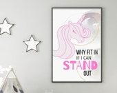 Stand out Framed Wall Print Nursery decor Motivation Print for Kids Playroom Wall Art Classroom Art Kids Wall Decor