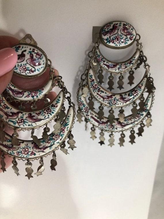 Vintage Jewelry Clip On Gold Earring Enamel Earrings Clips Womens Fashion Jewelry Boho Chic Bohemian Great Birthday Gift Idea #60434-4SC