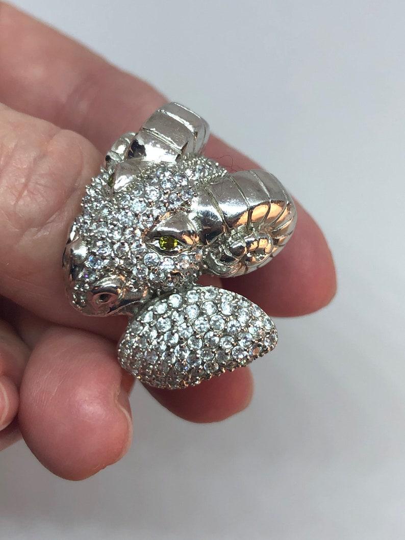 circa 1980 Unique Vintage Silver Ram ring