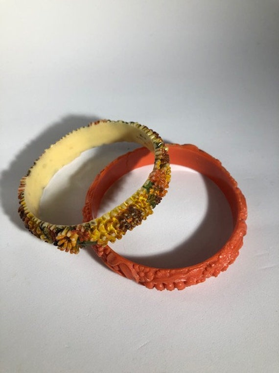 Whimsical, Fun Vintage PAIR of CELLULOID Bangles/B