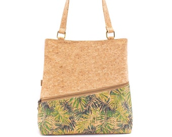 and Waxed Canvas Super Tote with front zipper pocket and tassel zipper pull Cork Overlooked Velvet