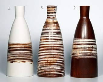 Large bottle 920ml/31oz. or white and brown vase in utilitarian and decorative porcelain!