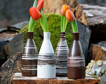 Small bottle 300ml/10oz. or white and brown vase in utilitarian and decorative porcelain!