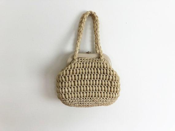 60s micro mini bag tan beige raffia handbag purse