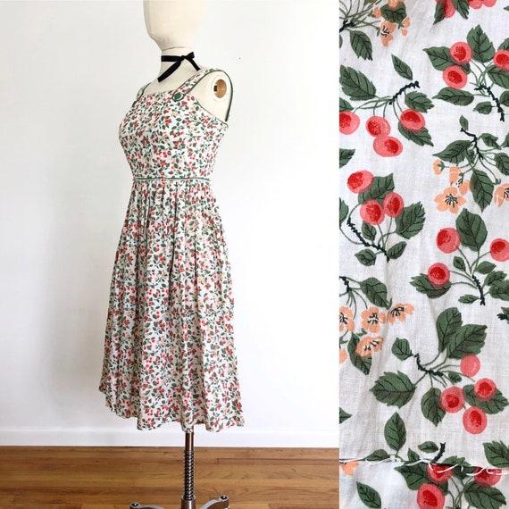 50s floral cotton summer dress