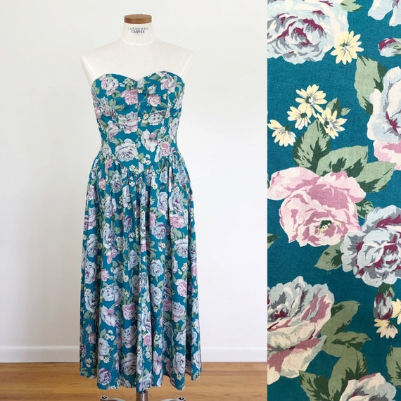 80s floral strapless summer dress with pockets fit