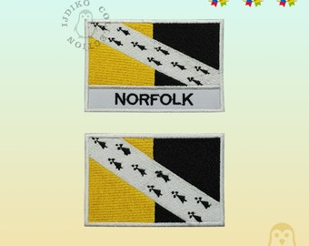 NORFOLK Flag With Name Embroidered Iron On Sew On Patch Badge For Clothes Etc