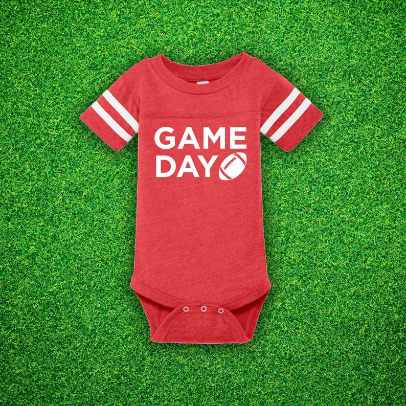 Game Day Baby Bodysuit  Football Baby Bodysuit  Football Vintage Red