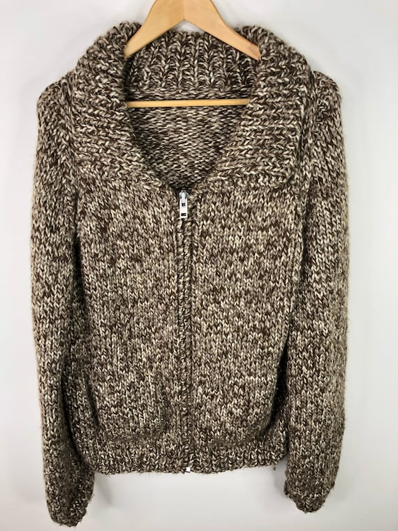 Vintage Hand Knit Wool Sweater Shawl Collar Brown