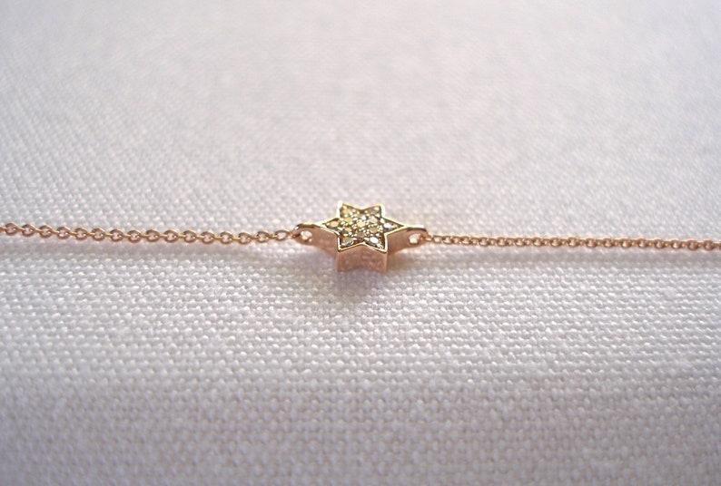 VIDA = 14k Rose Gold /'Star/' Bracelet with Accent Diamonds