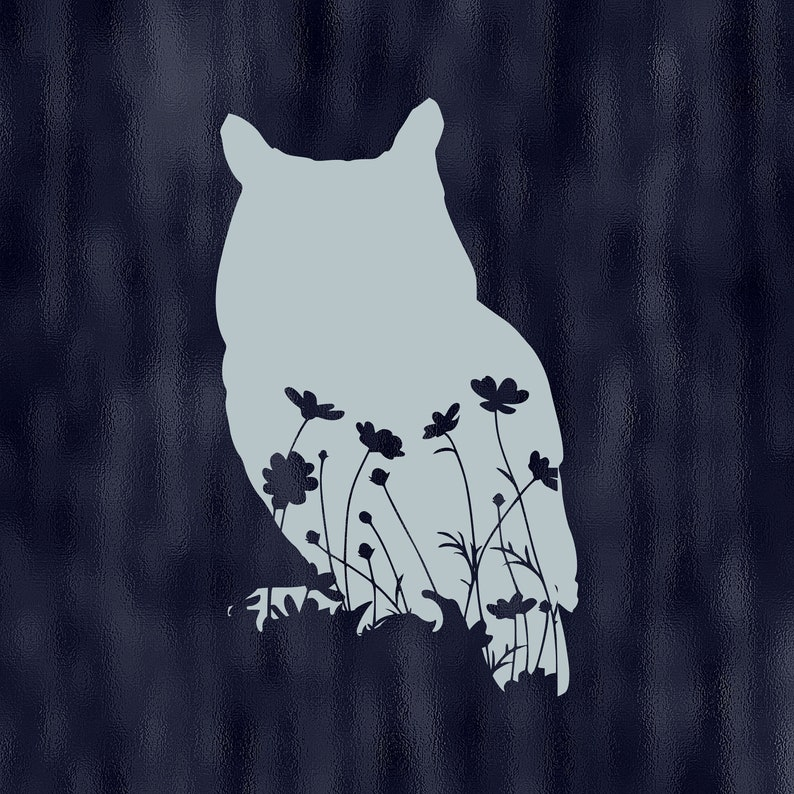 Floral owl decal