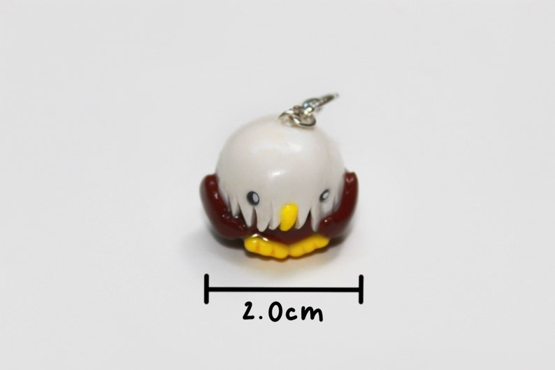 Handmade Polymer Clay Bald Eagle Charm-1/2 the Proceeds are image 0