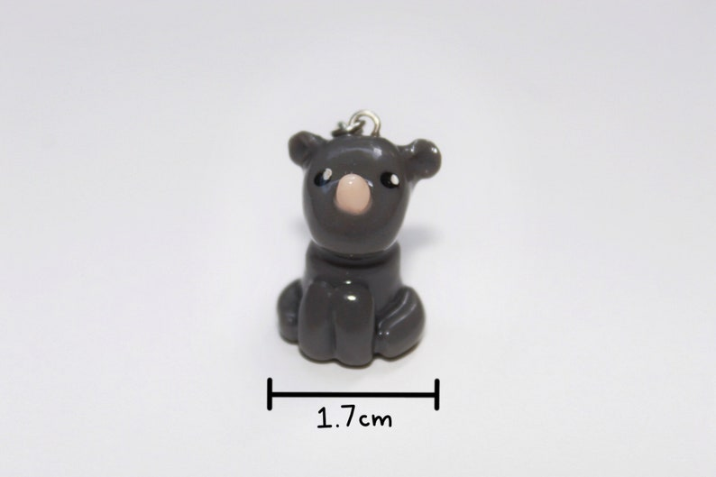Handmade Polymer Clay Black Rhino Charm-1/2 the Proceeds are image 0