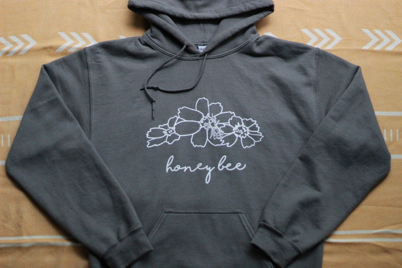 Hand-Pressed Honey Bee Hooded Sweatshirt-1/2 the Proceeds are image 0