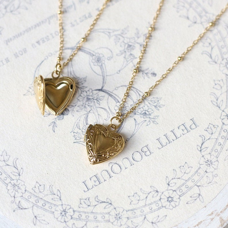 Personalized 18k Gold Plated Mini Heart Locket Necklace Love Locket Pendant Necklace w Beaded Chain