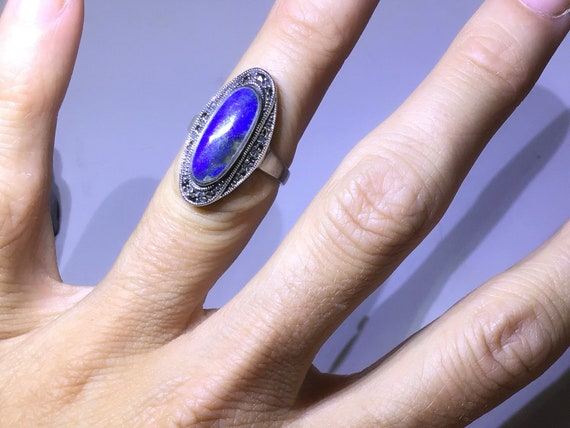 Vintage multi stone ring sterling silver