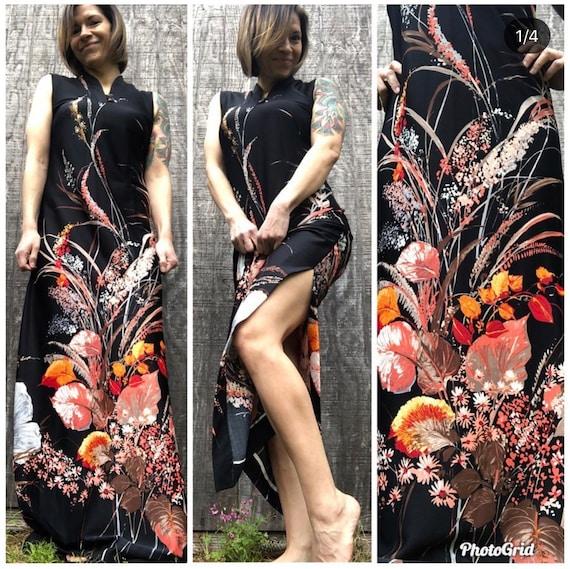 1970's Vintage Tropicana Hawaii floor length dress