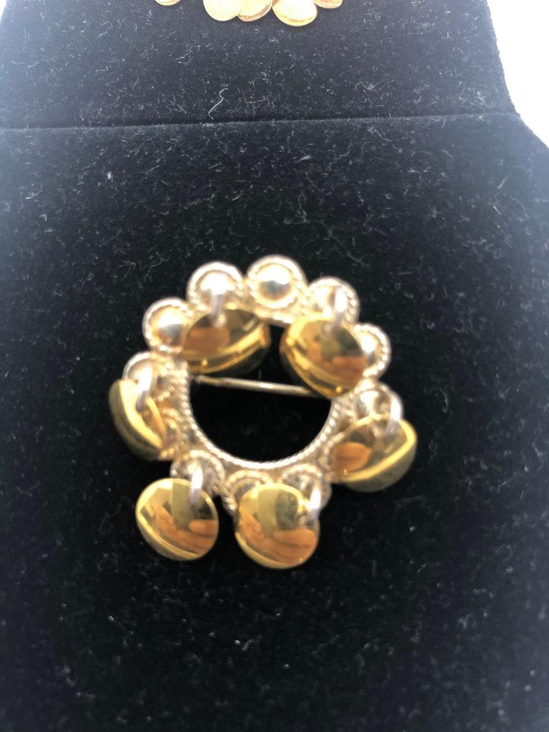 Norwegian Solje Silver Brooch Earrings set Dangle Filigree S830 Wedding jewelry