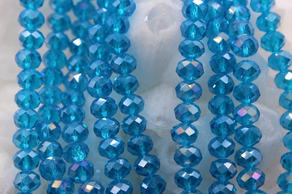 Glass Beads Crystal Beads Faceted Rondelle Crystal Beads Beading Suppliers 4x6mm Full Strand 18 Approx 95 Beads