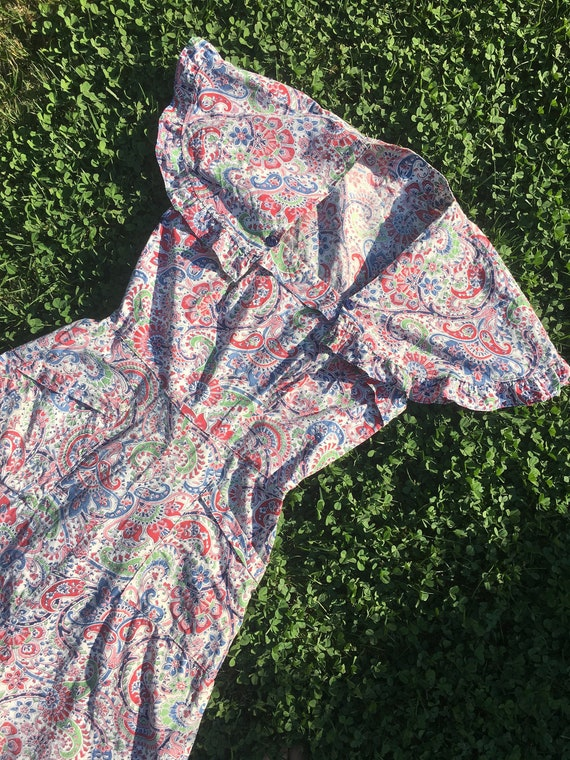 1940's Paisley Cotton Dress with Detachable Bolero