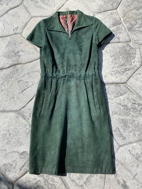 1960's/1970's Emerald Green Suede Mod Dress/Shirtd