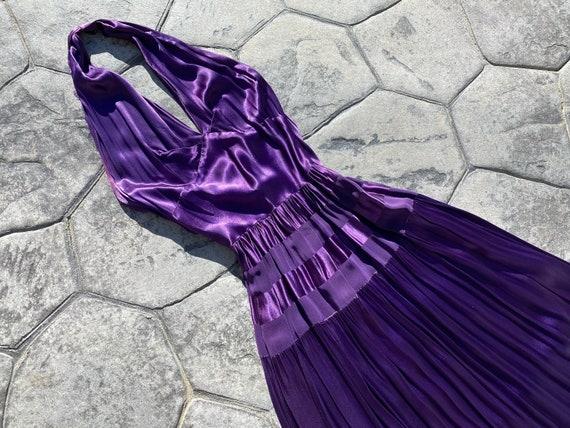 1930's 1940's Liquid Satin Purple Halter Evening G