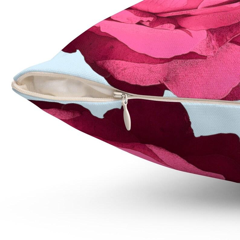 Rose Spun Polyester Square Pillow