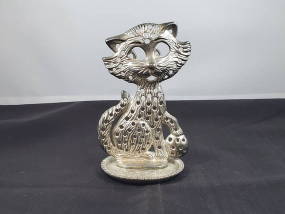 Vintage 1976 Alley Cat Silver Plated Jewelry Earri