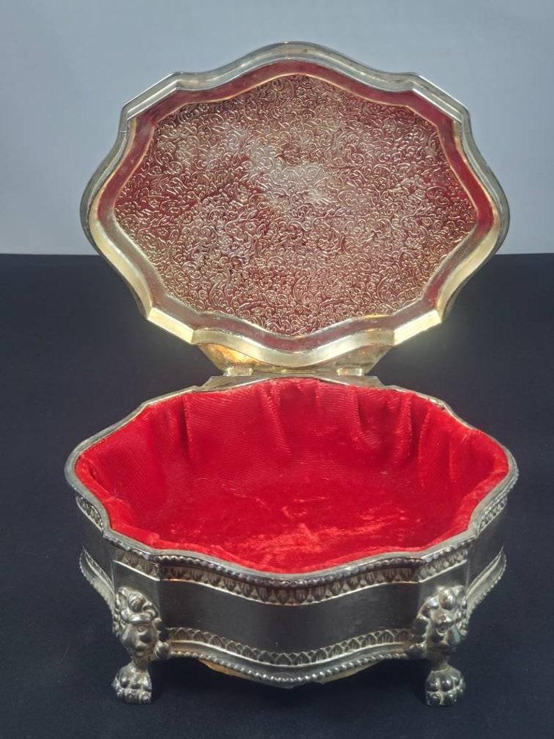Vintage Dieu Et Mon Droit British Royal Crest Silver Plate Trinket Jewelry Box