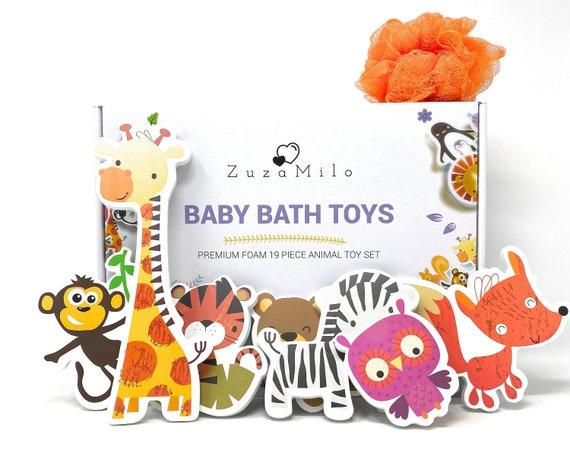 Best foam animals bath toy set for babies and toddlers + bathtub toy organizer