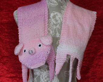 Piggy Neck Scarf NeckerchiefSlim Silky ScarfGift For Her