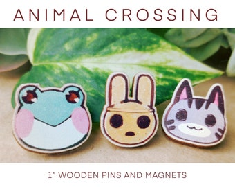Animal Crossing wooden pins and magnets Raymond Marshal Lolly Molly Coco Lily