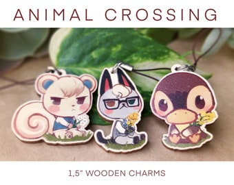 Animal Crossing wooden pins and charms Raymond Marshal Lolly Molly Coco Lily