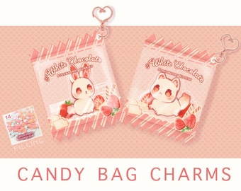 Candy bag charm strawberry cat and bunny