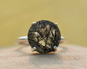 Top Quality! Natural Black Rutile Quartz Cabochons,Black rutile Gemstone Top quality handmade Black Rutile Loose Gemstone 46 Cts D-7714