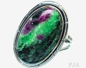 Ruby Zoisite Ring \u2013 Green and Pink Ruby Zoisite Ring \u2013 Green and Pink Ring \u2013 Womens Adjustable Ring