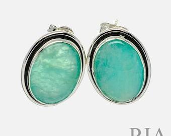 Brazillian Amazonite 925 Silver 14ct Gold Plated Lever Back Dangle Drop Earrings