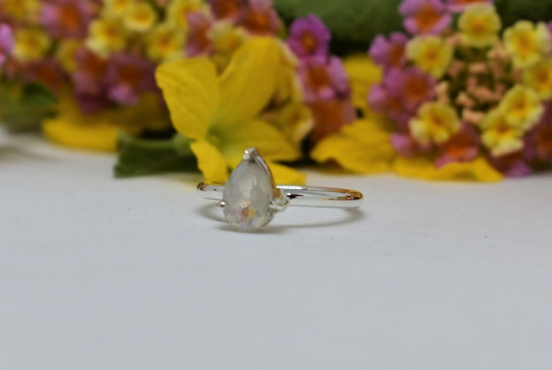 925 Sterling Silver Ring Handmade Rainbow Moonstone Pear Moonstone Faceted Ring Moonstone Ring Pear Cut Ring Christmas Gift Jewelry