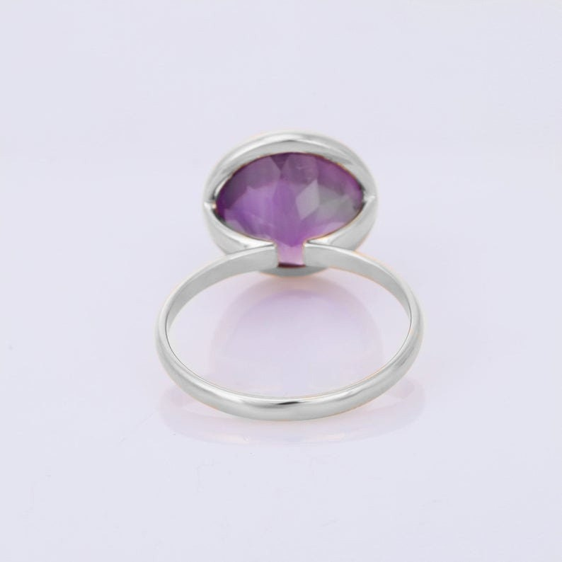 Purple Amethyst Ring Sale Christmas Gift Single Band Ring Ready To Ship Statement Ring Simple Amethyst Ring Round Gemstone Ring