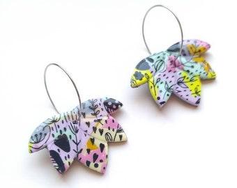 earrings grey gift for mom polymer clay earrings Cool Hoop Earrings Statement Earrings statement Hoop Earrings Lilli Gruber orecchini