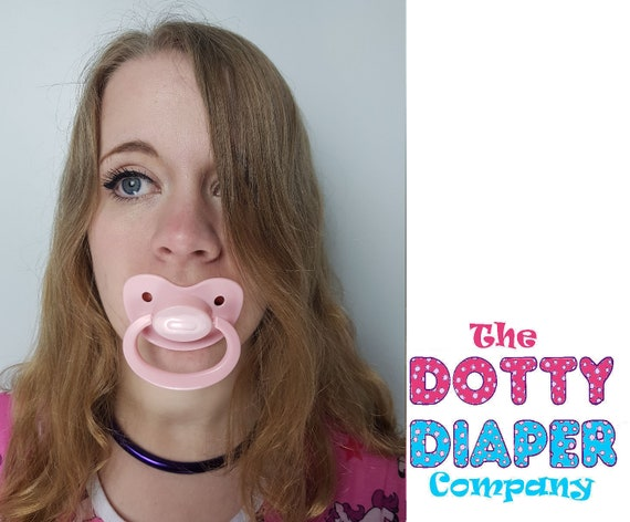 Adult Pacifier Soother Dummy from the dotty diaper company baby Pink