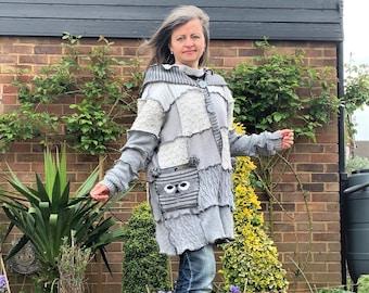 Upcycled Mixed Fabric Hooded Long Sleeve Patchwork Women Cardigan, Grey Button Up Owl Sweater, Oversized Vintage Coat Size 10-16 UK